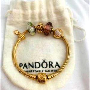 Pandora 14k gold bracelet with 14k gold charms!